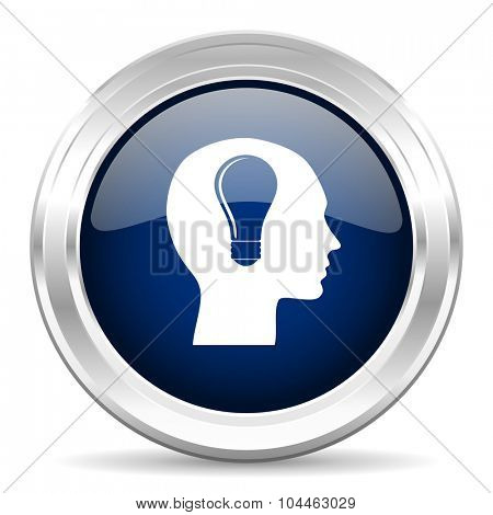 head cirle glossy dark blue web icon on white background