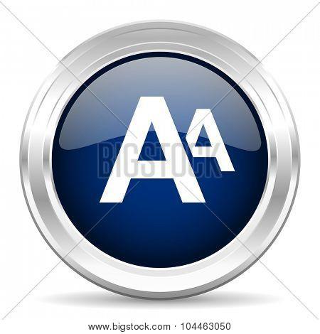 alphabet cirle glossy dark blue web icon on white background