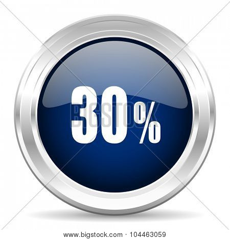 30 percent cirle glossy dark blue web icon on white background