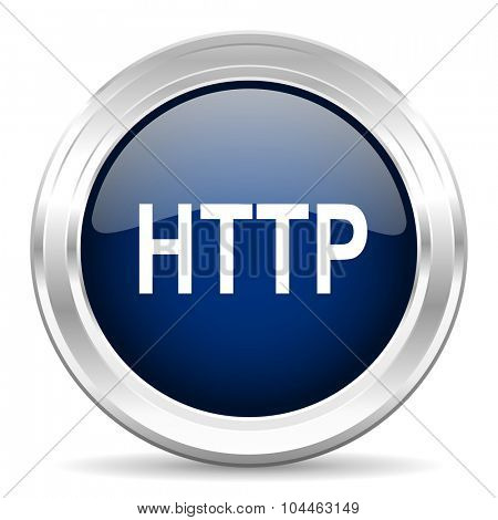 http cirle glossy dark blue web icon on white background