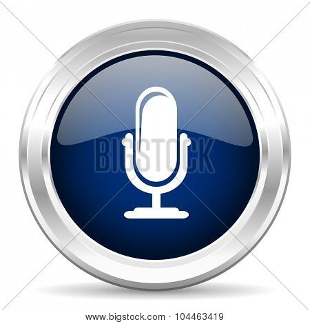 microphone cirle glossy dark blue web icon on white background