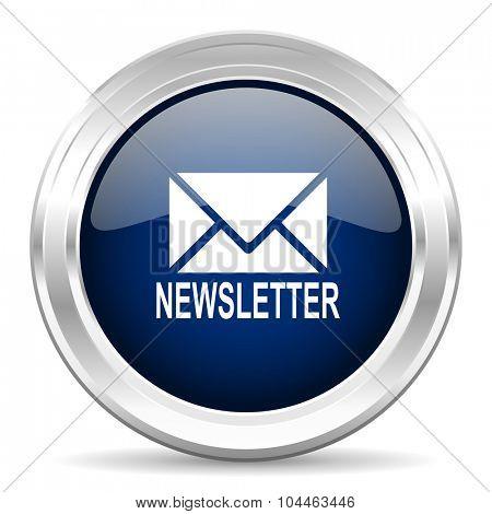 newsletter cirle glossy dark blue web icon on white background