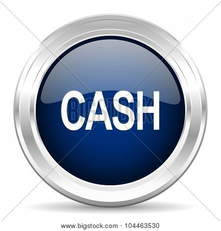 cash cirle glossy dark blue web icon on white background