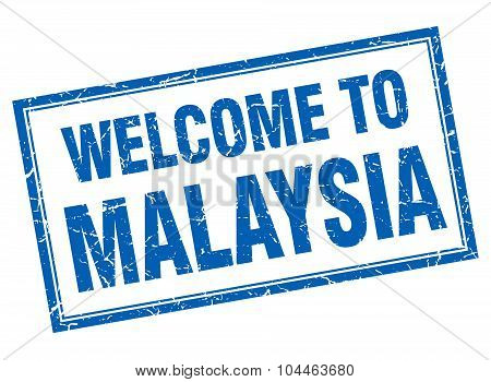 Malaysia Blue Square Grunge Welcome Isolated Stamp