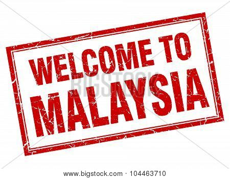 Malaysia Red Square Grunge Welcome Isolated Stamp