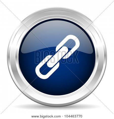 link cirle glossy dark blue web icon on white background