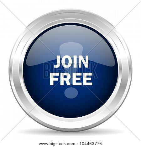 join free cirle glossy dark blue web icon on white background