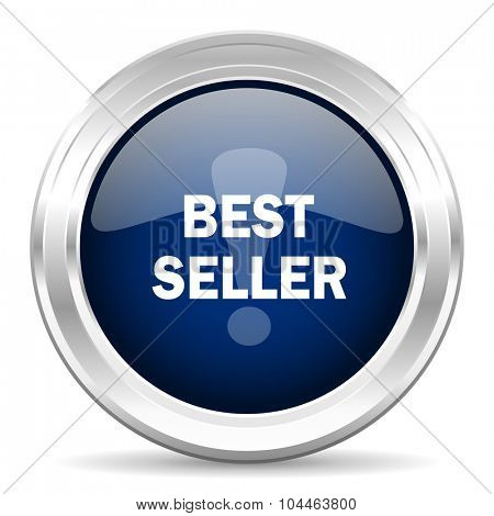 best seller cirle glossy dark blue web icon on white background