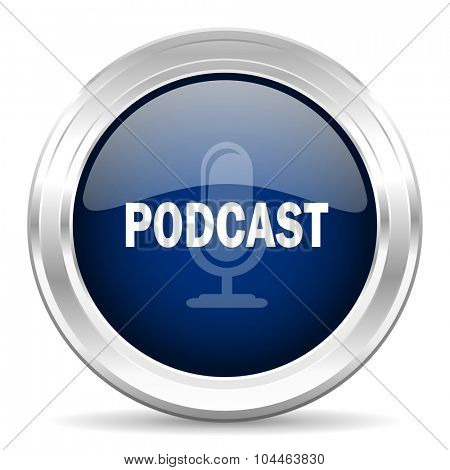 podcast cirle glossy dark blue web icon on white background