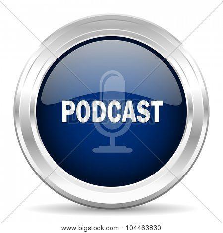 podcast cirle glossy dark blue web icon on white background