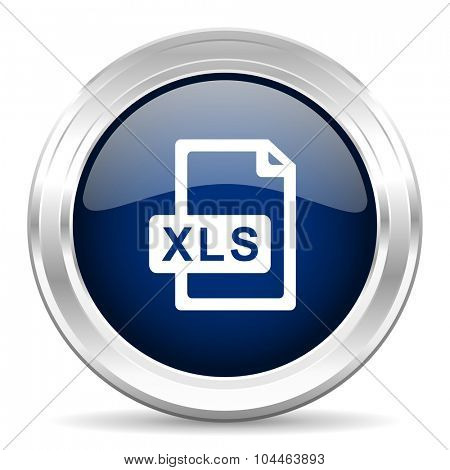 xls file cirle glossy dark blue web icon on white background