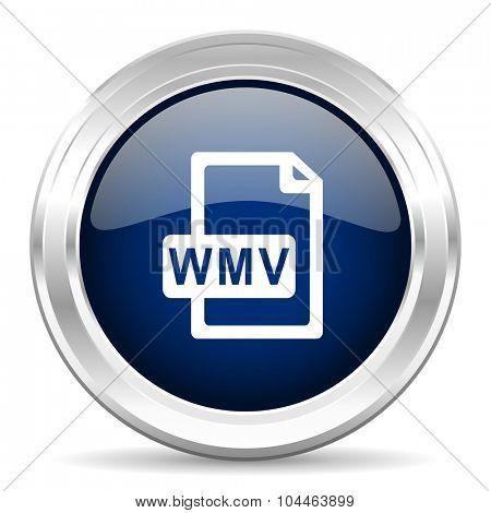 wmv file cirle glossy dark blue web icon on white background