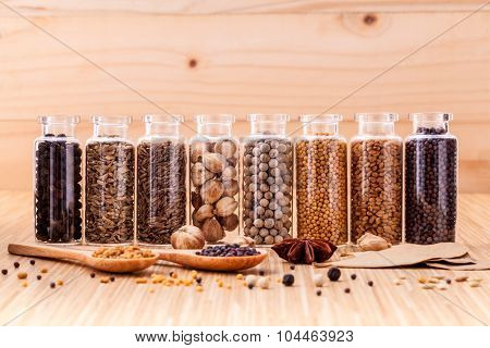 Assorted Of Spice Bottles Condiment  Black Pepper ,white Pepper,  Black Mustard,white Mustard,fenugr