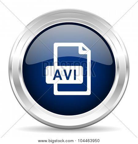 avi file cirle glossy dark blue web icon on white background