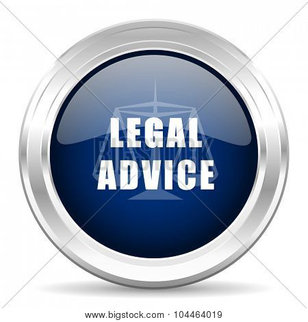 legal advice cirle glossy dark blue web icon on white background