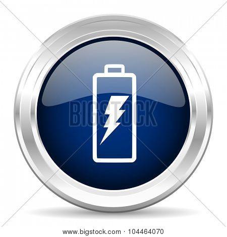 battery cirle glossy dark blue web icon on white background