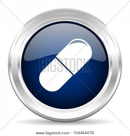 drugs cirle glossy dark blue web icon on white background