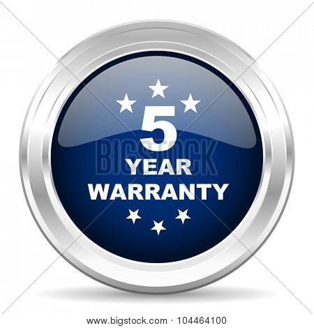 warranty guarantee 5 year cirle glossy dark blue web icon on white background