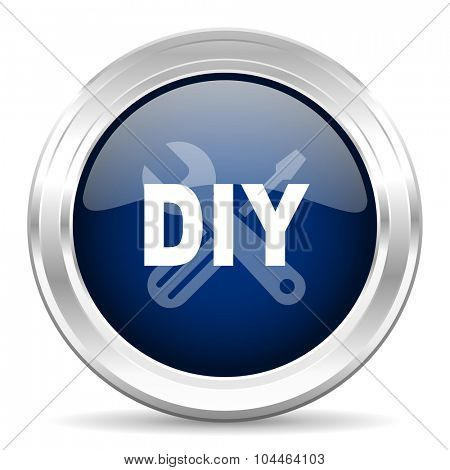 diy cirle glossy dark blue web icon on white background