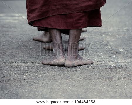 Dramatic Picture Of Ascetic Buddhist Monk Walking Pray At The Way To Kyaikhtiyo.