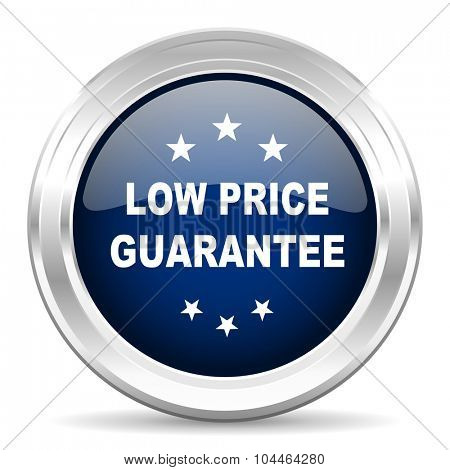 low price guarantee cirle glossy dark blue web icon on white background