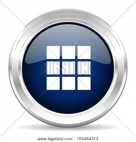 thumbnails grid cirle glossy dark blue web icon on white background