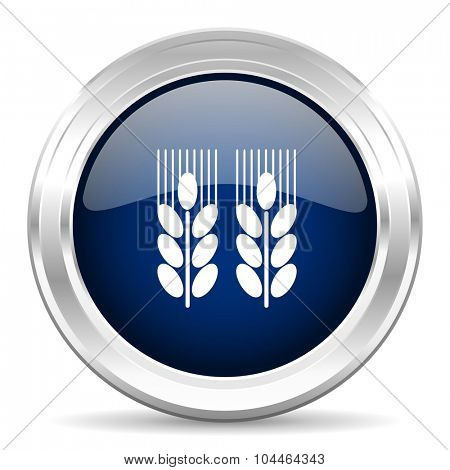 agricultural cirle glossy dark blue web icon on white background