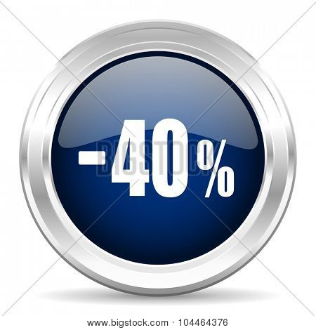 40 percent sale retail cirle glossy dark blue web icon on white background