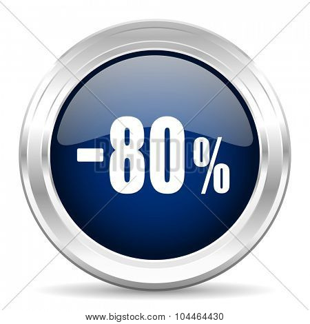 80 percent sale retail cirle glossy dark blue web icon on white background