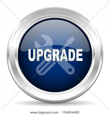 upgrade cirle glossy dark blue web icon on white background