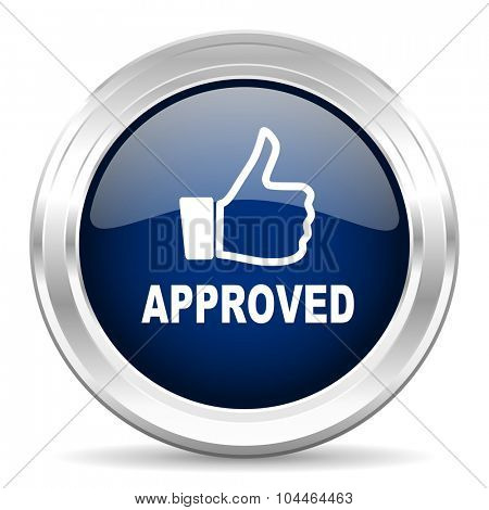 approved cirle glossy dark blue web icon on white background