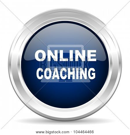 online coaching cirle glossy dark blue web icon on white background
