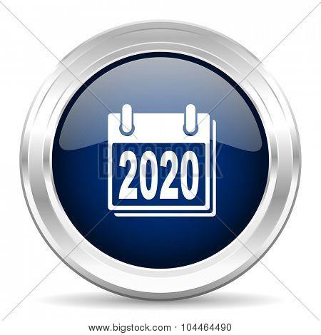 new year 2020 cirle glossy dark blue web icon on white background