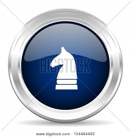 chess horse cirle glossy dark blue web icon on white background