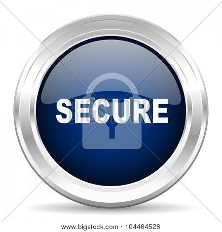 secure cirle glossy dark blue web icon on white background