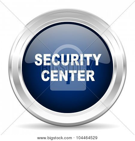 security center cirle glossy dark blue web icon on white background