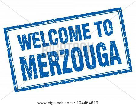 Merzouga Blue Square Grunge Welcome Isolated Stamp