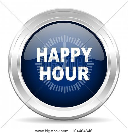 happy hour cirle glossy dark blue web icon on white background