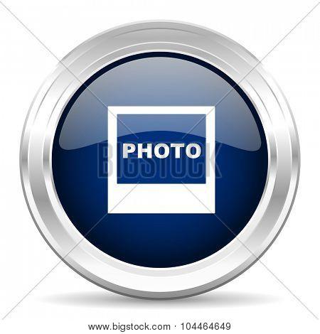 photo cirle glossy dark blue web icon on white background