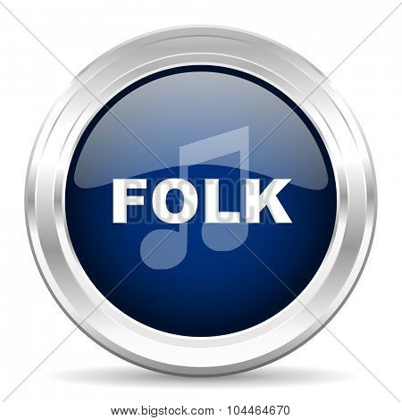 folk music cirle glossy dark blue web icon on white background