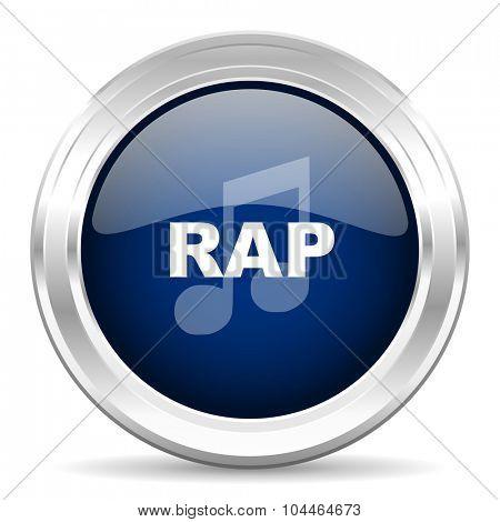 rap music cirle glossy dark blue web icon on white background