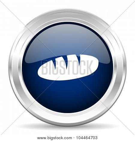bread cirle glossy dark blue web icon on white background