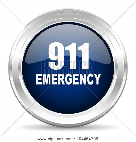 number emergency 911 cirle glossy dark blue web icon on white background