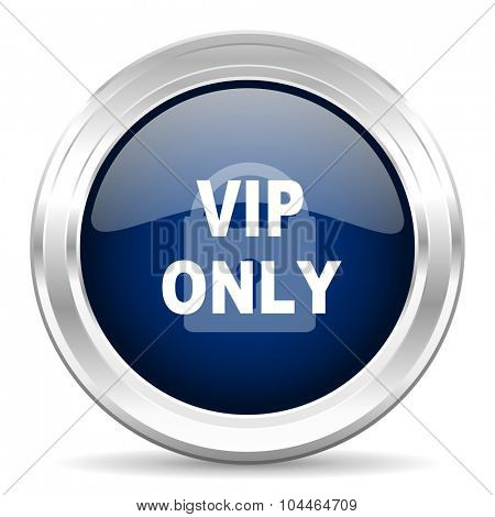 vip only cirle glossy dark blue web icon on white background