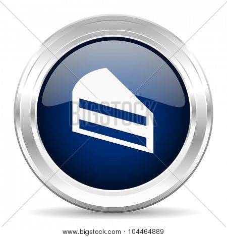 cake cirle glossy dark blue web icon on white background