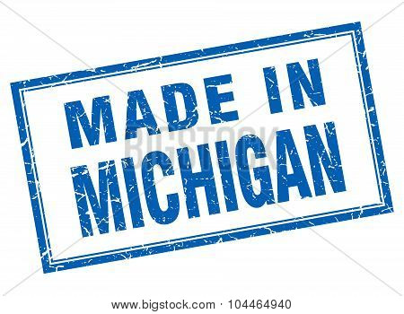 Michigan Blue Square Grunge Made In Stamp