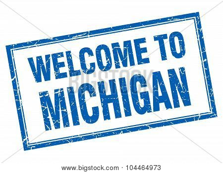 Michigan Blue Square Grunge Welcome Isolated Stamp
