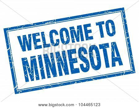 Minnesota Blue Square Grunge Welcome Isolated Stamp