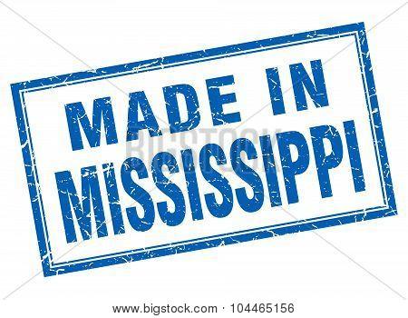 Mississippi Blue Square Grunge Made In Stamp