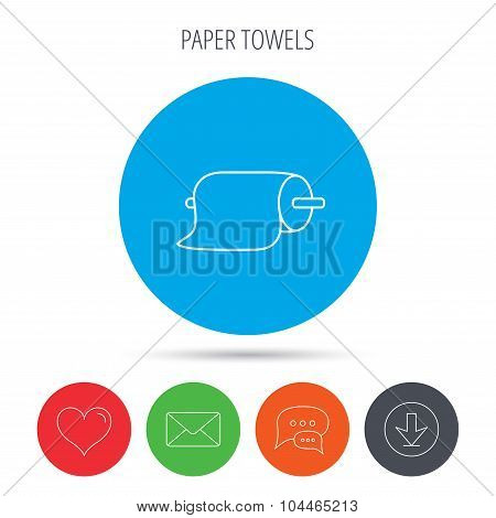 Paper towels icon. Kitchen hygiene sign.